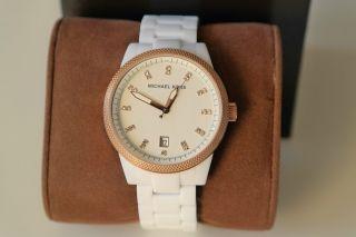 Michael Kors Mk5404 Weiss - Rosegold Damenarmbanduhr / Uhr Luxus Bild