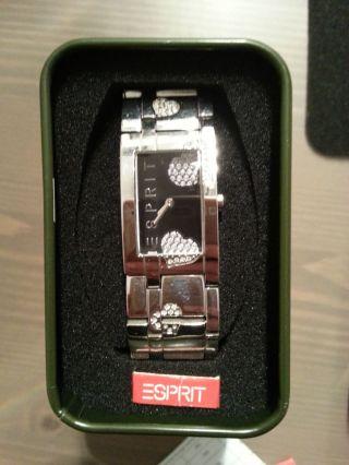 Esprit Armbanduhr Mit Strass Herz Silber/schwarz Wie Bild