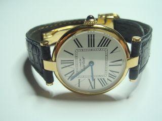 Elegante Cartier Damen Uhr Vermeil Argent 925 Silber Vergoldet Mit Box & Papiere Bild