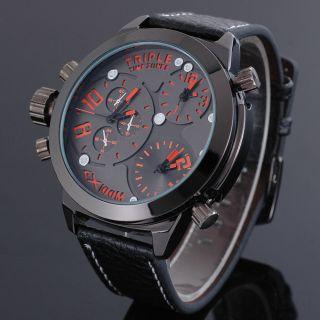 Zeiger Xl Orange 3 Zeitzonen Militär Herren Uhr Schwarz Herren Leder Armbanduhr Bild