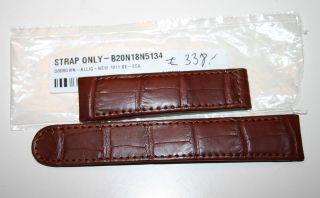 Ebel Lederarmband Alligator Np 338€ Braun 20mm Für Faltschliesse Bild