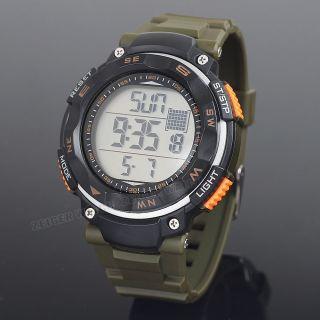 Zeiger Herren Sportuhr Armee Grün Uhr Stoppuhr Alarm Date Wasserdicht Herren Uhr Bild