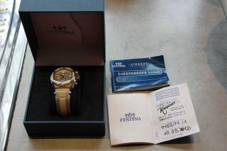 Festina Chronograph Damen Uhr F16274/1 Wenig Getragen Voll Funktionsfähig Bild