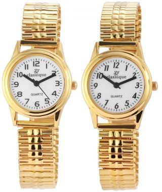 Damenuhr Mit Metallzugband Flexband Armbanduhr Gold Fbg.  26 Mm Cl - 2102 - 3 Bild