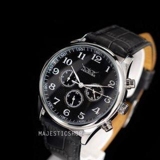Automatikuhr Jaragar Herren Schwarz Leder Armband Herrenuhr Armbanduhr Watch W10 Bild