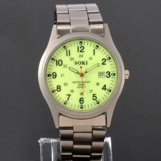 Nachtleuchtende Soki Datum Quarz Herren Analog Edelstahl Armband Uhr Bild