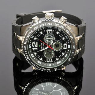 Weide Herren Digital Analog Alarm Schwarz Quarz Gummi Armband Wasserdicht Uhr Bild