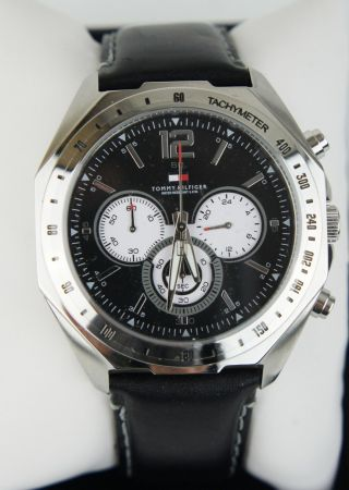 Tommy Hilfiger 1790654 - Chronograph Herren Armbanduhr (schwarz) Leder & Ovp Bild