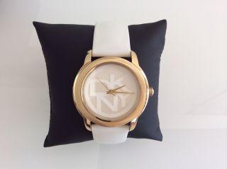 Dkny Ny8827 Damen Uhr Leder Np:119€ Weiß Gold Bild