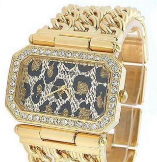 Guess Uhr Gold Damenuhr Luxus Weihnachtsgeschenk Leoparden Bild