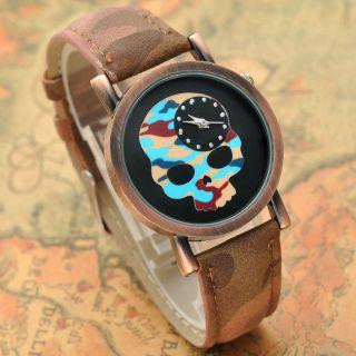 Vintage Armbanduhr Quarzuhr Pu Leder Totenkopf Schädel Damen Herrenuhr Quarz Uhr Bild