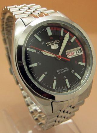 Seiko 5 Racer Snk375 Durchsichtig Automatik Uhr 7s26 - 0520 21 Jewels Datum&tag Bild