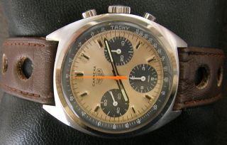 Heuer Carrera Chronograph Valjoux 7736 Handaufzug 70er Jahre Bild