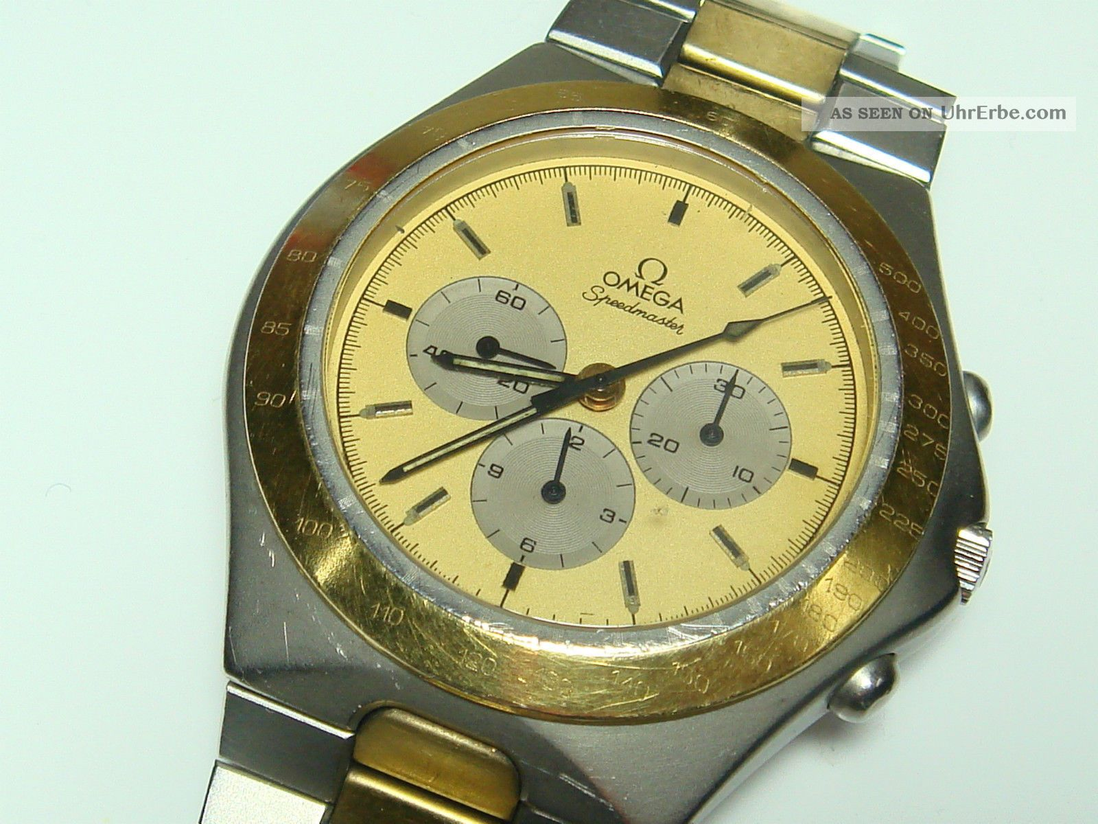 omega speedmaster stahl gold chronograph herren uhr handaufzug cal 861. Black Bedroom Furniture Sets. Home Design Ideas