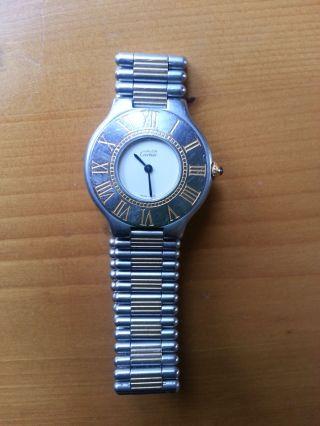 Damen Cartier Armbanduhr Für Damen Cartier Must 21 Stahl /armband Stahl/gold Bild