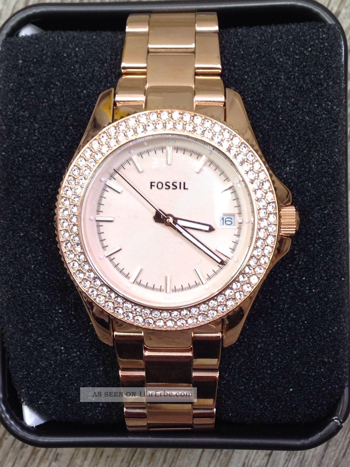 fossil damen uhr armbanduhr edelstahl ros zirkonia retro traveler am4454. Black Bedroom Furniture Sets. Home Design Ideas