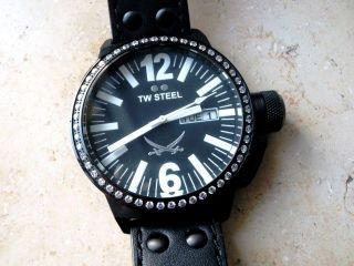 Tw Steel Tw - 851 Damen/herren Uhr Sansibar Crystal Edelstahl Black Pvd 45 Mm Bild