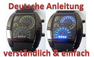 Dot Matrix Uhr Blau Led Watch Uhr BinÄre Styliche Armbanduhr Tacholook Bild
