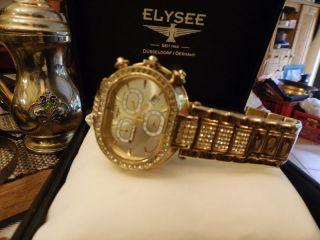 Elysee Glamour Gold Swarovski Kristall Chronograph Damenuhr Unisex Bild