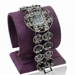 Carved Emaille Blume Rund Herz Liebe Armband Mode Armreif Armbanduhren Watch Bild