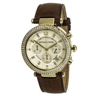 Armbanduhr Damen Michael Kors Mk2249 Mittelgroß Parker Gold Stahl Leder Band Bild