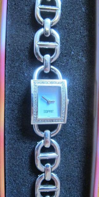Elegante Esprit Uhr Mit Steinbesatz In Diamantoptik (stainless Steel) In Ovp Bild
