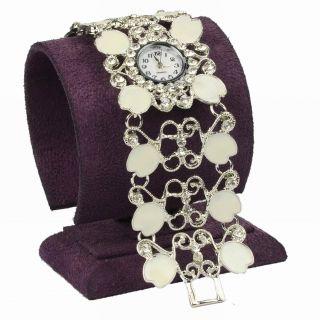 Emaille Strass Herz Wide Weiß Gift Hollow Mode Armreif Link Armbanduhr Watch Bild