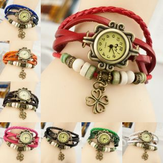 Retro Leder Uhren Four Leaf Clover Wickel Armband Damen Quarz Sport Armbanduhr Bild