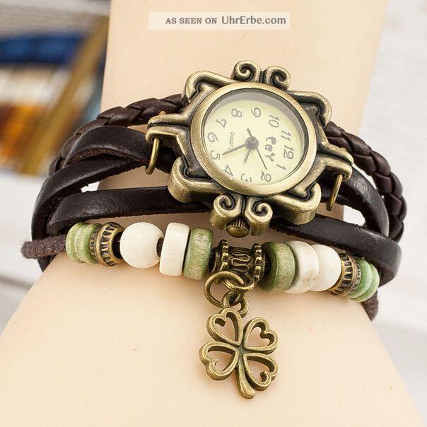 retro leder uhren four leaf clover wickel armband damen. Black Bedroom Furniture Sets. Home Design Ideas