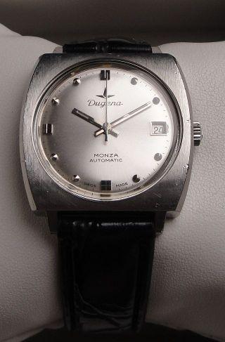 Klassische Vintage Armbanduhr Automatic Dugena Monza In Edelstahl Mit Datum Bild