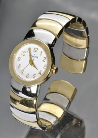 Damenuhr Armspange Bicolor Gold - Silber Modeschmuck Bild