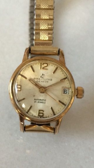 Breitling Geneve Automatic Uhr Date 21 Jewels Swiss Watch 1965 Bild