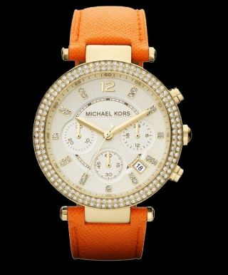 Michael Kors Uhr Mk2279 Damenuhr Orange Leder Luxusuhr Markenuhr Armbanduhr Bild