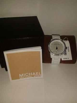 Michael Kors Mk5204 Weiß Kunststoff Damenuhr Mit Strass Box Und Bild