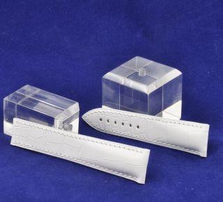 Omega - Lederband Weiß Für Lady ' S - Speedmaster Faltschliesse 18mm - Bild