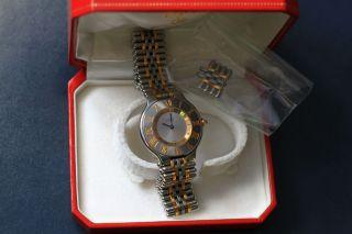 Cartier Armbanduhr Stahl - Gold Mast De Cartier 21 Luxusuhr (unisex) Bild