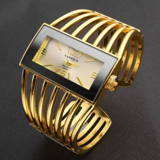 D863 Armband Uhr Armspange Gold Quarzuhr Legierung Damen Herren Armkette Uhr Bild
