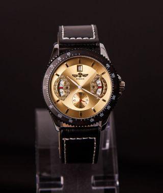 Herren Uhr Armbanduhr Aus Edelstahl Von Winner,  Mechanisch,  Gold,  Automatik Bild
