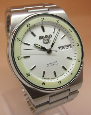 Seiko 5 Snxm17 Durchsichtig Automatik Uhr 7s26 - 0530 21 Jewels Datum&tag Bild