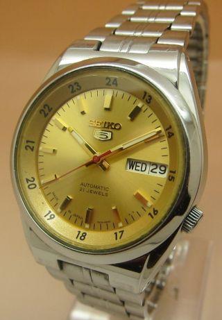 Seiko 5 Durchsichtig Mechanische Automatik Uhr 7s26 - 02c0 21 Jewels Datum & Tag Bild