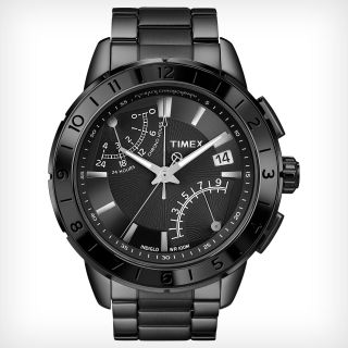 Timex Retrograde Sl Series Iq Schwarzer Stahl Quarz Analog Bild