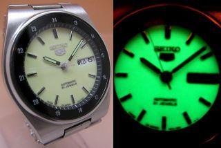 Seiko 5 Lumi Durchsichtig Automatik Uhr 7s26 - 0530 21 Jewels Datum&taganzeige Bild