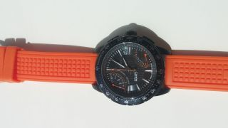 Timex Herrenuhr Iq Sl Fly - Back Chronograph Stahl Orange Strap Bild