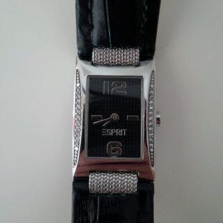 Esprit Uhr Leder Schwarz Silber Strass Weihnachtsgeschenk Bild