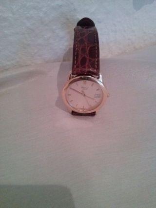 Chopard Geneve Armbanduhr 750 ' Gold Ultra Flach Mit Datumsanzeige Krokoband Bild