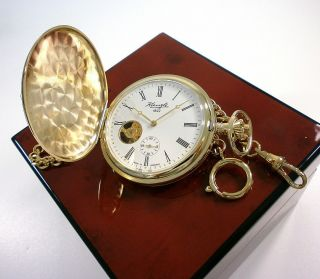 Kienzle Mech.  Taschenuhr,  Savonette/ Doppelseitiger Sprungdeckel & Uhrenkette Bild