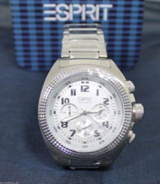 Esprit Herrenuhr Herren Uhr Momentum Silver Chronograph Es900491005 Bild
