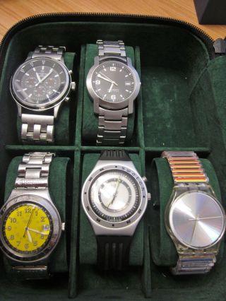 Uhrensammlung 3 X Swatch,  1x Esprit,  1x Rene Barton Im Uhrenkasten Bild