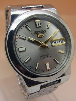 Seiko 5 Durchsichtig Automatik Uhr 7s26 - 01r0 21 Jewels Datum & Tag Bild