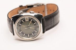 Omega Memomatic Vintage Wecker Armbanduhr Edelstahl Bild